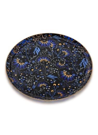 Glore Liyana Mat Altın Cam Tepsi Renkli